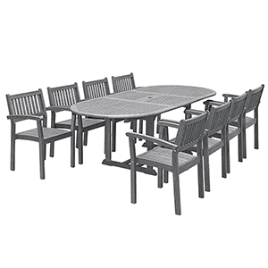 Renaissance Hand-scraped Wood Outdoor Patio Dining Set with Extension Table 9-Piece