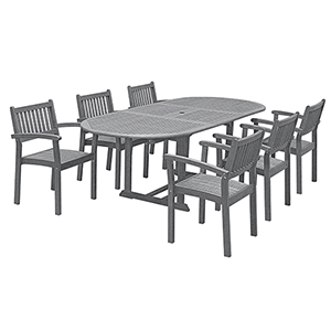 Renaissance Hand-scraped Wood Outdoor Patio Dining Set with Extension Table, 7-Piece