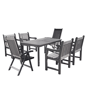 Renaissance Hand-scraped Wood Outdoor Patio Dining Set with Reclining Chairs, 7-Piece