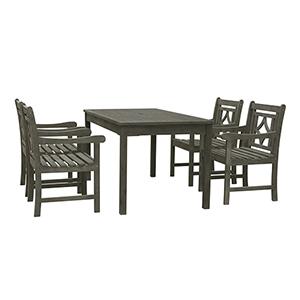 Renaissance Grey 5-piece Wood Patio Rectangular Table Diamond Dining Set