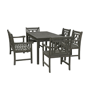 Renaissance Grey 6-piece Wood Patio Rectangular Table Diamond Dining Set