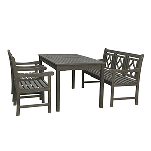 Renaissance Grey 4-piece Wood Patio Rectangular Table Diamond Dining Set with One 57-Inch Bench and Two Arm Chairs