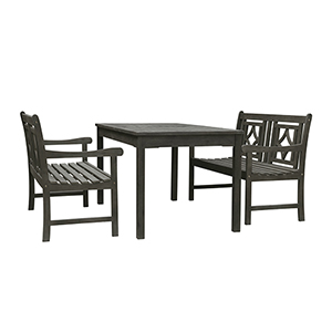Renaissance Grey 3-piece Wood Patio Rectangular Table Diamond Dining Set with Two 48-Inch Benches