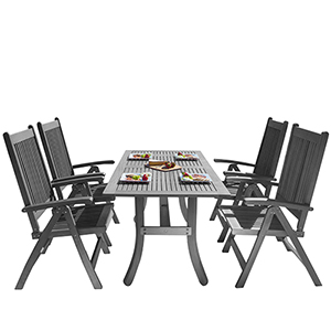 Renaissance Hand-scraped Wood Outdoor Patio Dining Set with Reclining Chairs, 5-Piece