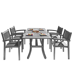 Renaissance Hand-scraped Wood Outdoor Patio Dining Set with Stacking Chairs, 5-Piece