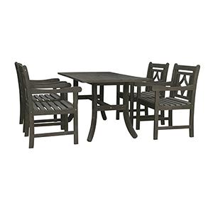 Renaissance Grey 5-piece Wood Patio Curvy Legs Table Diamond Dining Set