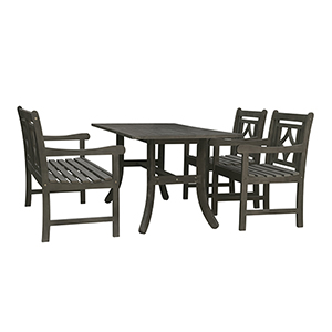 Renaissance Grey 4-piece Wood Patio Curvy Legs Table Diamond Dining Set with One 48-Inch Bench and Two Diamond Arm Chairs