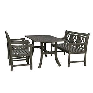 Renaissance Grey 4-piece Wood Patio Curvy Legs Table Diamond Dining Set with One 57-Inch Bench and Two Diamond Arm Chairs