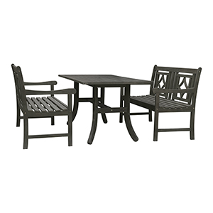 Renaissance Grey 3-piece Wood Patio Curvy Legs Table Diamond Dining Set with Two 48-Inch Benches