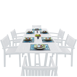 Bradley White Painted Outdoor Patio Dining Set with Extension Table, 7-Piece