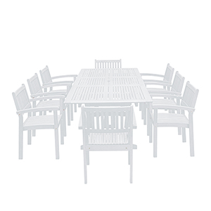 Bradley White Painted Outdoor Patio Dining Set with Extension Table, 9-Piece