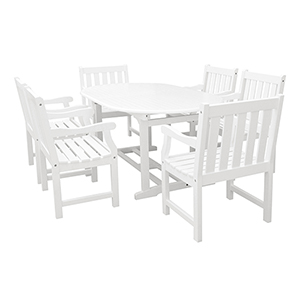 Bradley Outdoor 7-piece Wood Patio Dining Set with Extension Table in White