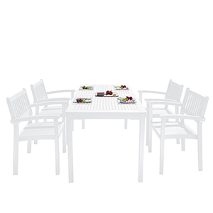 Bradley White Painted Outdoor Patio Dining Set with Stacking Chairs, 5-Piece