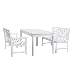 Bradley White 3-piece Wood Patio Rectangular Table Dining Set with Two 48-Inch Benches