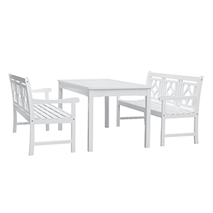 Bradley White 3-piece Wood Patio Rectangular Table Dining Set with Two 57-Inch Benches