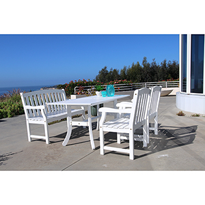Bradley Outdoor 4-piece Wood Patio Dining Set with 4-foot Bench in White