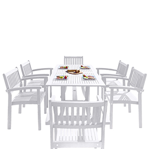 Bradley White Painted Outdoor Patio Dining Set with Stacking Chairs, 7-Piece