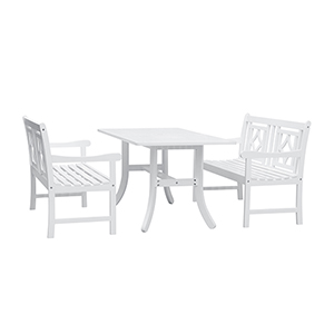 Bradley White 3-piece Wood Patio Curvy Legs Table Dining Set with Two 48-Inch Benches