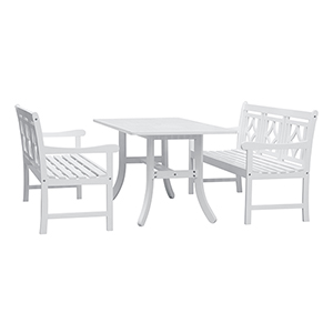 Bradley White 3-piece Wood Patio Curvy Legs Table Dining Set with Two 57-Inch Benches