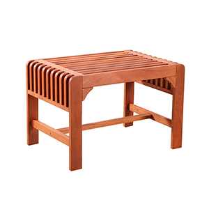 Backless Eucalyptus Wood Single Bench