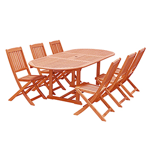 Malibu Outdoor 7-piece Wood Patio Dining Set with Extension Table and Folding Chairs