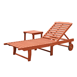 Malibu Natural Wood Outdoor Patio Beach and Pool Lounge Set, 2-Piece