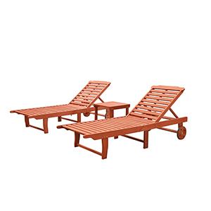 Malibu Natural Wood Outdoor Patio Beach and Pool Lounge Set, 3-Piece