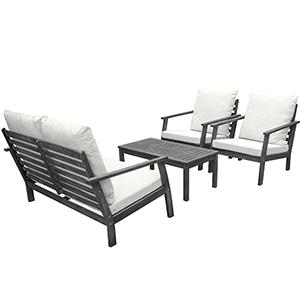 Renaissance Hand-scraped Wood Outdoor Patio Sofa Set