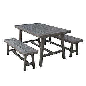 Renaissance Grey 3-Piece Outdoor Picnic Dining Set