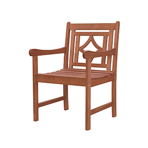 Malibu Brown Diamond Eucalyptus Outdoor Dining Armchair