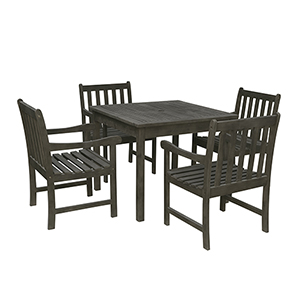 Renaissance Grey 5-piece Wood Patio Stacking Table Dining Set with Four Arm Chairs