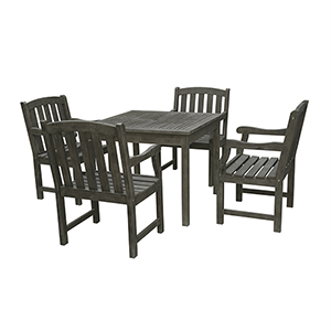 Renaissance Grey 5-piece Wood Patio Stacking Table Dining Set with Four Slated Back and Seat Arm Chairs
