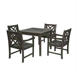 Renaissance Grey 5-piece Wood Patio Stacking Table Dining Set with Four Patterned Back Arm Chairs