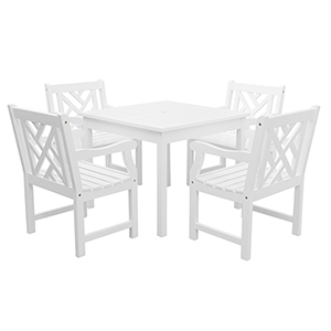 Bradley White 5-piece Wood Patio Stacking Table Dining Set with Four Criss-Cross Back Arm Chairs
