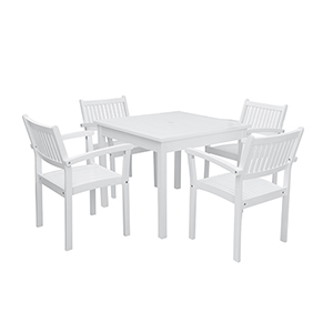 Bradley White 3-piece Wood Patio Stacking Table Dining Set
