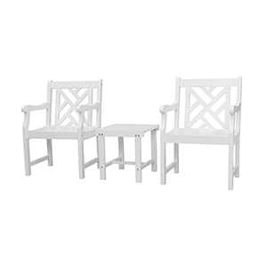 Bradley White 3-Piece Wood Patio Conversation Set with Two Criss-Cross Back Arm Chairs