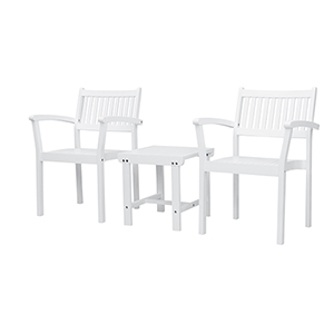 Bradley White 3-Piece Wood Patio Conversation Set with Two Stacking Chairs