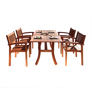 Malibu Outdoor 5-piece Wood Patio Dining Set with Stacking Chairs