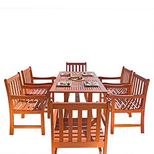 Malibu Outdoor 7-piece Wood Patio Dining Set with Curvy Leg Table