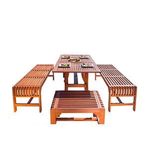 Malibu Outdoor 5-piece Wood Patio Dining Set with Curvy Leg Table and Backless Bench