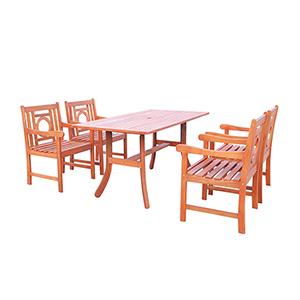 Malibu Outdoor 5-piece Wood Patio Dining Set with Curvy Leg Table