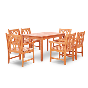 Malibu Outdoor 7-piece Wood Patio Dining Set with Curvy Leg Table