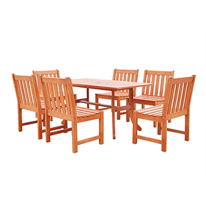 Malibu Outdoor 7-piece Wood Patio Dining Set with Curvy Leg Table and Armless Chairs