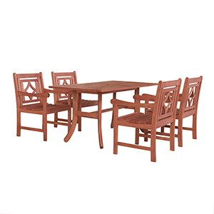 Malibu Brown 5-piece Patio Dining Set with Curvy Leg Table and Four Diamond Chairs