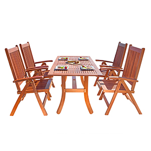 Malibu Outdoor 5-piece Wood Patio Dining Set with Curvy Leg Table and Reclining Chairs