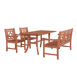 Malibu Brown 4-piece Patio Dining Set with Curvy Leg Table, Two Chairs and One 57-Inch Bench