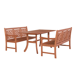 Malibu Brown 3-piece Patio Dining Set with Curvy Legs Table