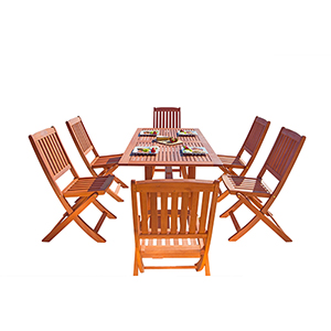 Malibu Outdoor 7-piece Wood Patio Dining Set with Curvy Leg Table and Folding Chairs
