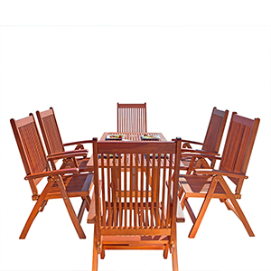 Malibu Outdoor 7-piece Wood Patio Dining Set with Curvy Leg Table and Reclining Chairs