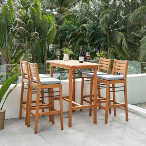Gloucester Natural Wood Five-Piece Patio Counter Height Dining Set